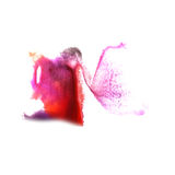 Art Red, lilac, zwarte, gele verf van de waterverfinkt Royalty-vrije Stock Foto's