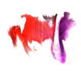 Art Red, violette de verfvlek van de waterverfinkt Royalty-vrije Stock Afbeeldingen