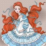 Art Redhair Girl In Blue klänning Arkivbild