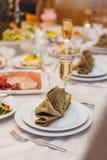 Art restaurant interior, table setting Stock Images