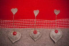 Art retro background with fabric Hearts for or design Royalty Free Stock Photos
