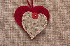 Art retro background with fabric Hearts for or design Stock Images