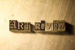 Art review - Metal letterpress lettering sign Royalty Free Stock Image