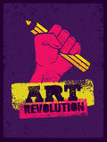Art Revolution Creative Poster Concept. Hand Holding Pencil Stencil Vector Stock Photo