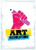 Art Revolution Creative Poster Concept Main tenant le vecteur de pochoir de crayon Photographie stock libre de droits