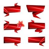 Art Ribbons, cintas de papel, filos, colores brillantes, sistema de la plantilla del diseño de iconos aislados Fondo blanco stock de ilustración