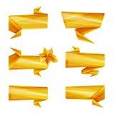 Art Ribbons, Papierbänder, Grate, helle Farben, gelber abstrakter Designschablonensatz lokalisierte Ikonen Stockfoto