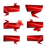 Art Ribbons, rubans de papier, tranchants, couleurs lumineuses, ensemble de calibre de conception des icônes d'isolement Fond bla Images stock
