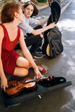 Art roman de musique de date d'interprète de rue Photos libres de droits