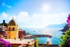 Art Romantic Seascape dans cinq terres, Vernazza, Cinque Terre, Lig image libre de droits