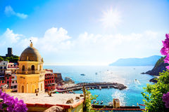 Art Romantic Seascape in Five lands, Vernazza, Cinque Terre, Lig Royalty Free Stock Image