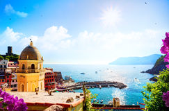 Art Romantic Seascape in mediterranean Italy old town Royalty Free Stock Photos