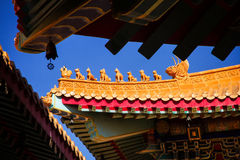 Art of Roof Decoration in Chinese Temple, Thailand royalty free stock images
