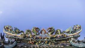 Art of roof on Thian Fan foundation shrine( Wat Leng Nei Yee Chinese temple) in Yaowarat road,Bangkok. stock image