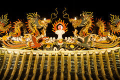 Art of roof on Thian Fan foundation shrine. Stock Photos