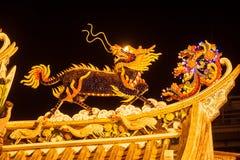 Art of roof on Thian Fan foundation shrine. stock photos