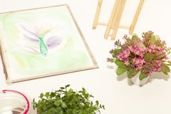 Art room in relax time and small pink flower plant pot. royalty free stock photo