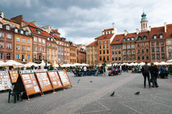 Art for sale on the Old Town Market Place square. Stock Photo