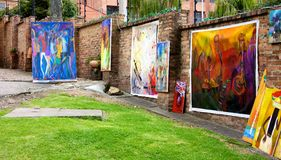 Art for sale at Usaquen Flea Market Stock Image