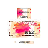 Art salon banners with abstract colorful flowers and blots. Art salon banners with abstract colorful flowers .Watercolor Royalty Free Stock Photos