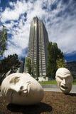 Art at San Francisco. Fallen heads at civic center, San Francisco Stock Photo