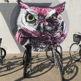 Art at Sandbanks on the seafront. Artistic Owl Sandbanks Poole Dorset Royalty Free Stock Image