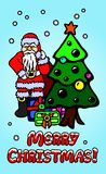 Art with Santa Clause and christmas tree Royalty Free Stock Photo