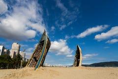 Art in Santos, Brazil. Santos, Brazil. September 27, 2016. Work of the artist installation Mauricio Adinolfi on the beach in Santos, Sao Paulo, Brazil stock photography