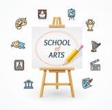 Art School Concept avec le chevalet Vecteur Images libres de droits