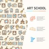 Art School Concept Infographics Banner Vecteur illustration stock