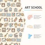 Art School Concept Infographics Banner Vettore Illustrazione di Stock