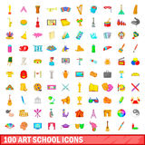 100 art school icons set, cartoon style. 100 art school icons set in cartoon style for any design vector illustration Royalty Free Stock Photo