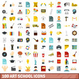 100 art school icons set, flat style Stock Photos