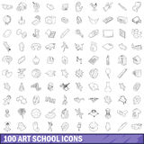 100 art school icons set, outline style. 100 art school icons set in outline style for any design vector illustration Royalty Free Stock Photography