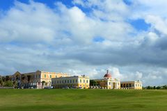 Art school in Old San Juan Puerto Rico with clouds royalty free stock image