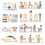 Art School Students and Supplies for Creating Set Royalty Free Stock Photos