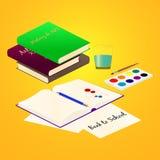 Art School supplies. School supplies for Study Art on bright background. Vector illustration Stock Photo