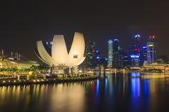 Art Science Museum en mening van Marina Bay, Singapore Royalty-vrije Stock Afbeelding
