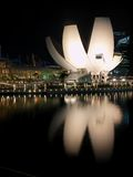 Art Science Museum, MBS. Beautiful mirror reflection of Art Science Museum in Singapore Royalty Free Stock Photos