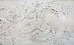 Art sculpture from the wall. In the Chinese temple Stock Photography