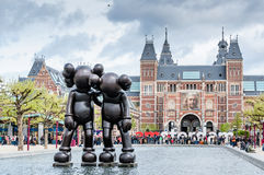 Art Sculpture in the Yard of The Rijksmuseum in Amsterdam Stock Images