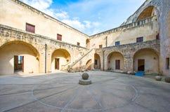 The art and the sea of Otranto. Otranto, Italy - April 11, 2010: The main courtyard of the Aragonese castle Royalty Free Stock Photo