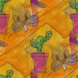 Art seamless Bunny and cactus contemporary texture Stock Photos