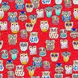 Art seamless pattern graphic owl Stock Photo