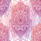Art seamless pattern hamsa mandala. Ethnic abstract print. Colorful repeating background texture. Culture bohemian ornament. Vector illustration stock illustration