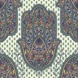 Art seamless pattern hamsa mandala. Ethnic abstract print. Colorful repeating background texture. Culture bohemian ornament. Vector illustration vector illustration