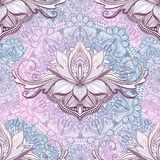 Art seamless pattern lotus flower mandala. Ethnic abstract print. Colorful repeating background texture. Culture bohemian ornament. Vector illustration stock illustration