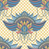 Art seamless pattern lotus flower mandala. Ethnic abstract print. Colorful repeating background texture. Culture bohemian ornament. Vector illustration royalty free illustration