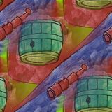 Art seamless spyglass contemporary  texture watercolor unusual w Stock Image