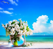 Art seascape and jasmine flowers Stock Photo
